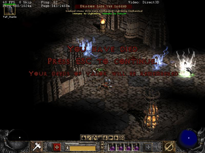diablo 2 hardcore player dies