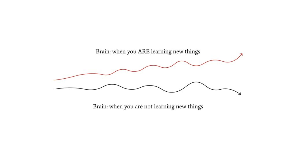Two graphs. One declining (when not learning new things). One ascending (when we do learn new things).